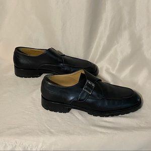 Bally 10.5D Black Munk Strap Mens Dress Shoes